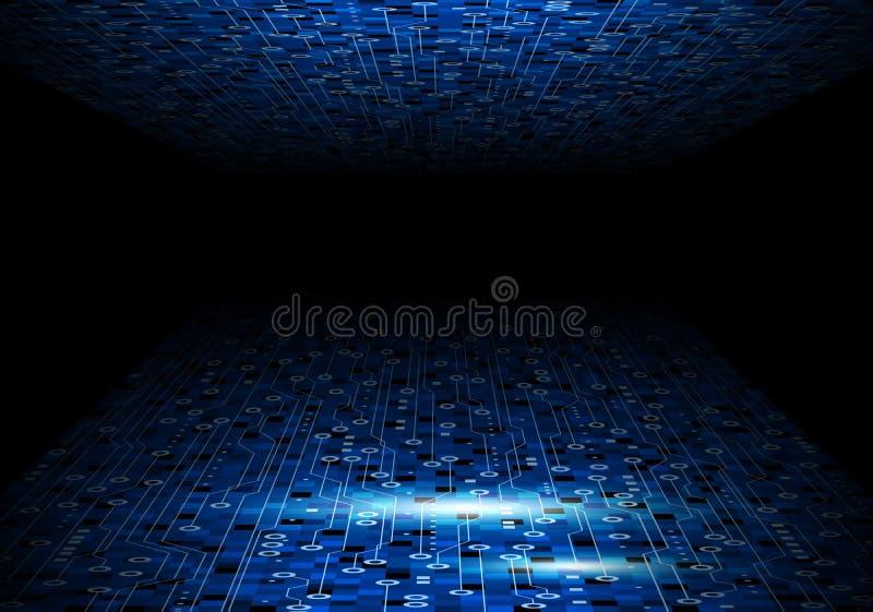 Wektorowy błękitny obwód deski tła projekt dla cyfrowego technolo ilustracja wektor