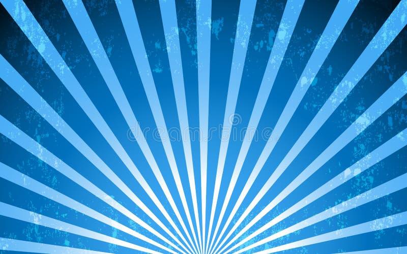 Wektorowy błękitny promieniowy rocznika stylu tło royalty ilustracja