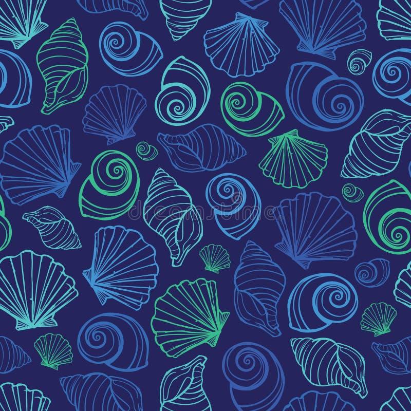 Wektorowy błękitny seashells powtórki wzór Stosowny dla opakunku, tkaniny i tapety prezenta, royalty ilustracja