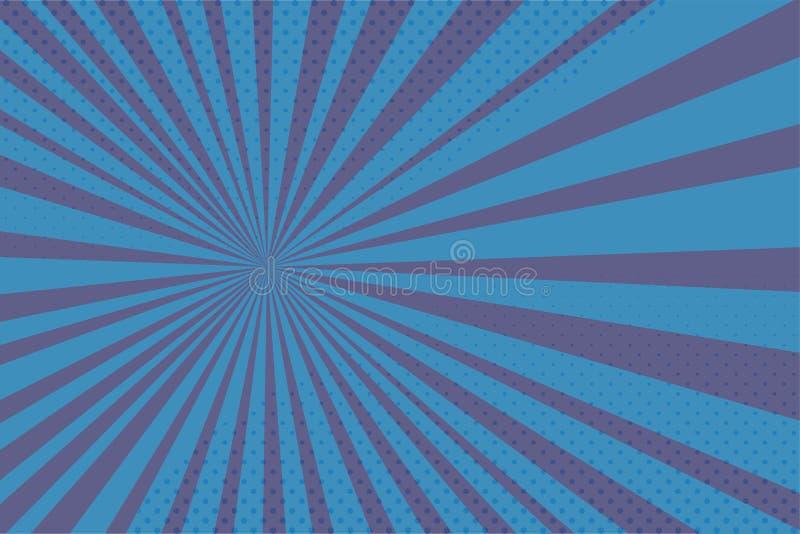 Wektorowy błękitny tło z komiczek halftones i promieniami royalty ilustracja
