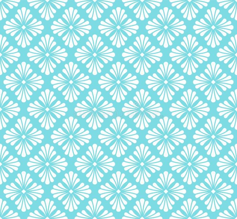 Wektorowy Błękitny Złoty Kwiecisty Ornamentacyjny Bezszwowy wzór Geometrycznego kwiatu Elegancka tekstura Abstrakcjonistyczna Ret ilustracji