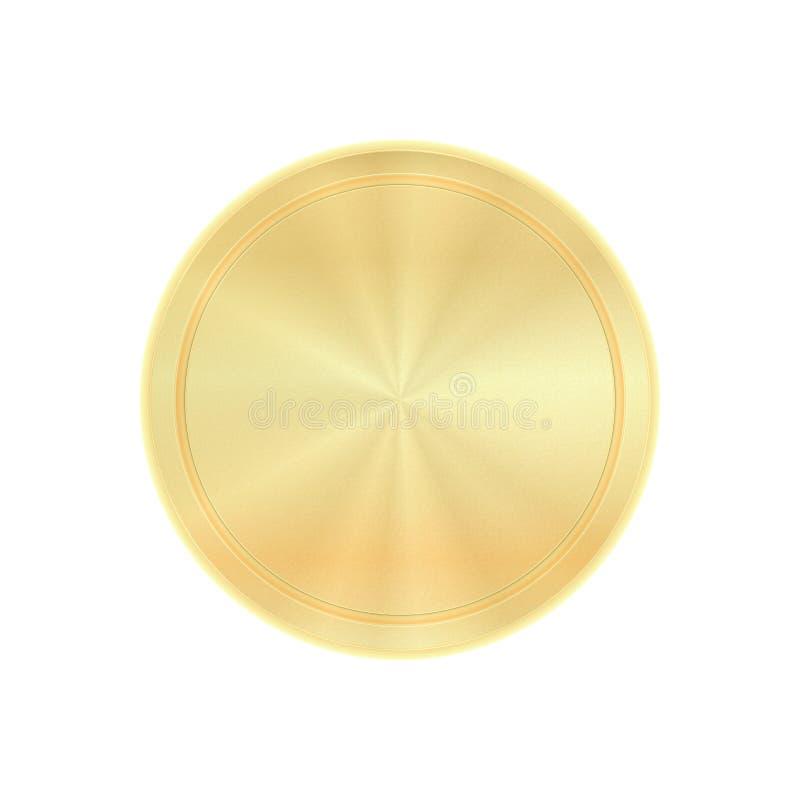Wektorowy błyszczący round z koncentrycznymi okręgami, pusty szablon dla monet, medale, guziki, złoto etykietki ilustracja wektor