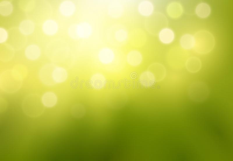 Wektorowy błyszczący zielony abstrakcjonistyczny tło z zamazanymi światłami i bokeh skutkami ilustracji