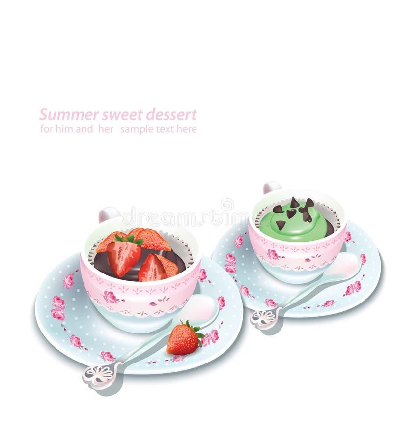 Wektorowy babeczki i czekolady truskawkowy mousse w kubku Lato wyśmienicie desery royalty ilustracja