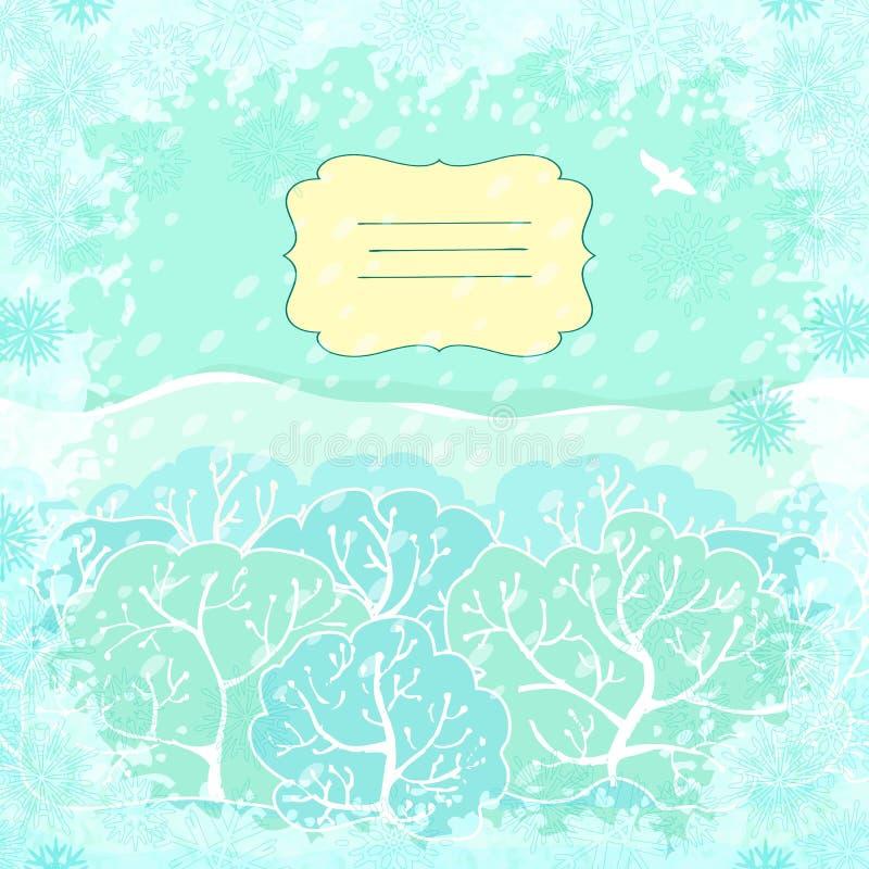 Wektorowy backgroundl z zima krajobrazem ilustracji
