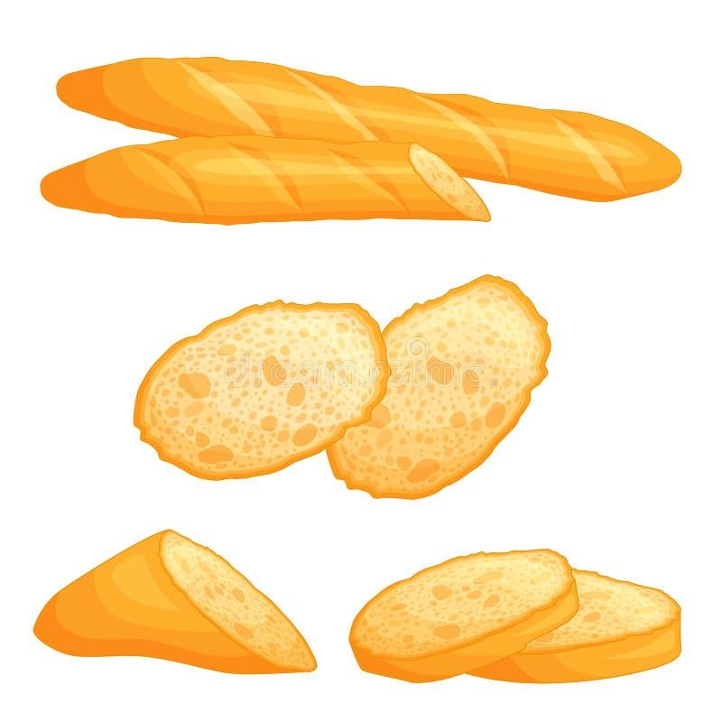 Wektorowy baguette Całość i plasterki chleb ilustracja wektor