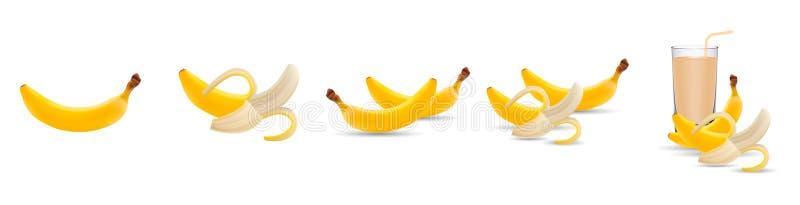 Wektorowy banan ?wie?e bananowe owoc, bananowy sok odizolowywaj?cy na bia?ym tle, kolekcja wektorowe ilustracje ilustracji