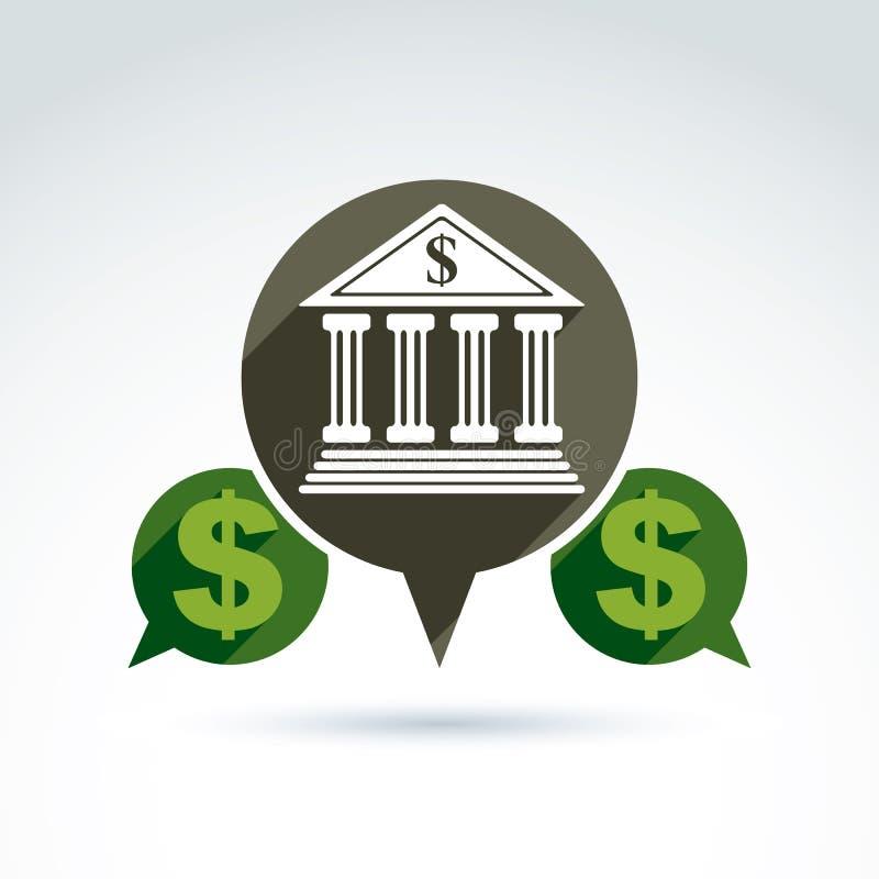 Wektorowy bankowość symbol, instytuci finansowej ikona ilustracji