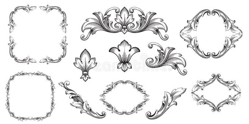 Wektorowy barok roczników elementy dla projekta ilustracja wektor