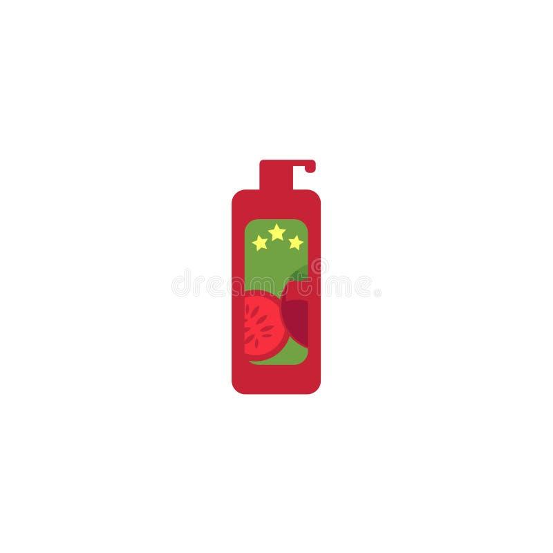 Wektorowy bbq kumberland w czerwonej plastikowej butelki ikonie royalty ilustracja