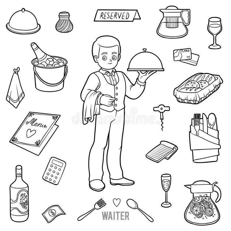 Wektorowy bezbarwny set z kelnerem i przedmioty od restauraci royalty ilustracja