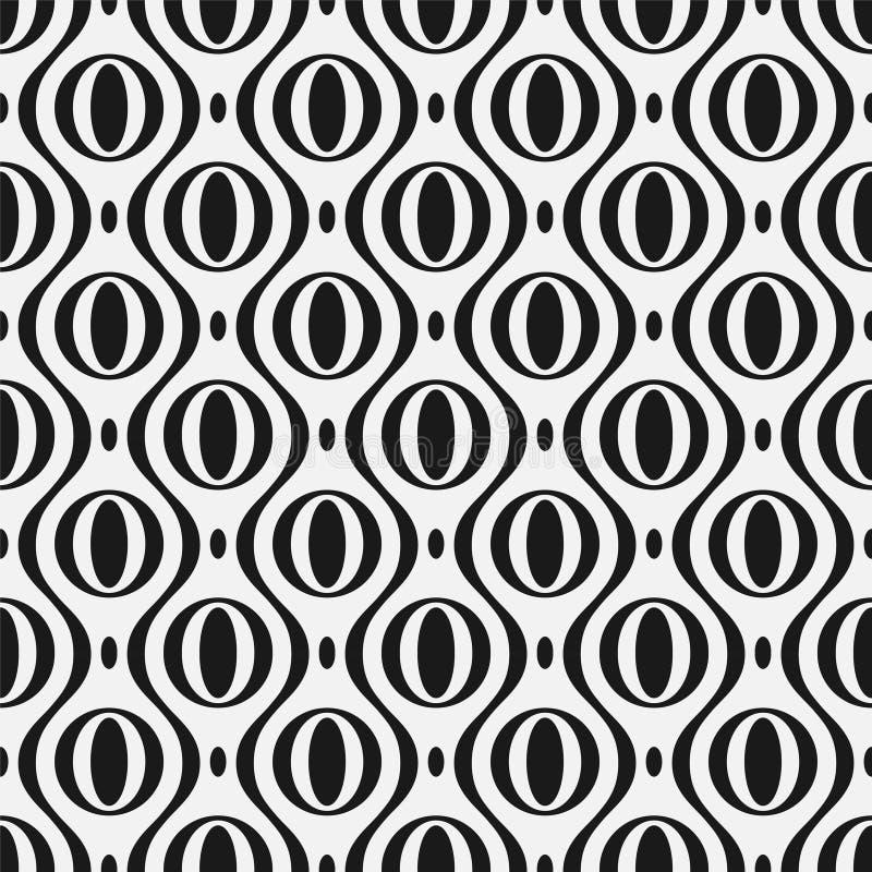 Wektorowy bezproblemowy wzór stylowy Nowoczesna tekstura ozdobna Powtarzające się abstrakcyjne tło z kółkami i falą royalty ilustracja