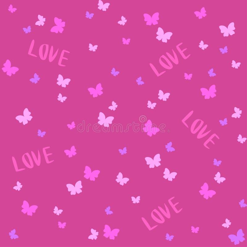 Wektorowy Bezszwowy Śliczny wzór z motylem obszyty dzień serc ilustraci s dwa valentine wektor royalty ilustracja