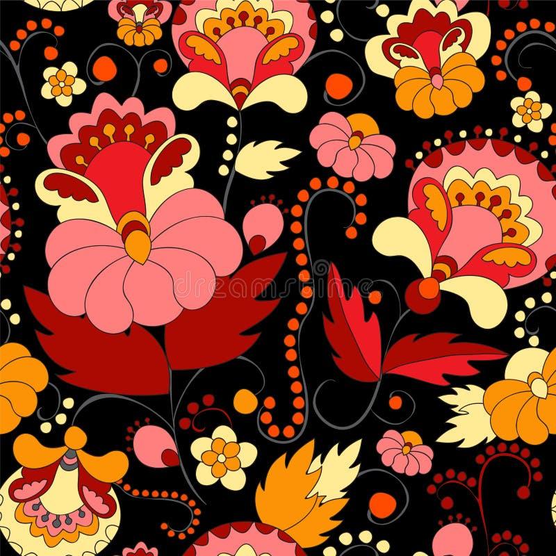 Wektorowy bezszwowy abstrakcjonistyczny doodle kwiat i falowy wzór ilustracji