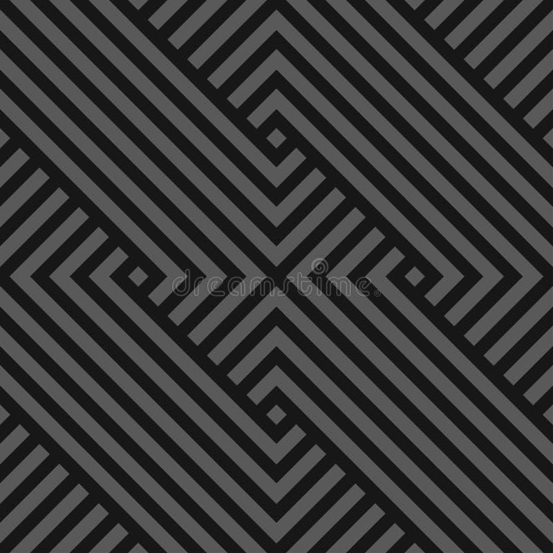 Wektorowy bezszwowy abstrakcjonistyczny geometryczny wzór szarość paskował teksturę - zmrok - Nieko?cz?cy si? liniowy t?o Monochr royalty ilustracja