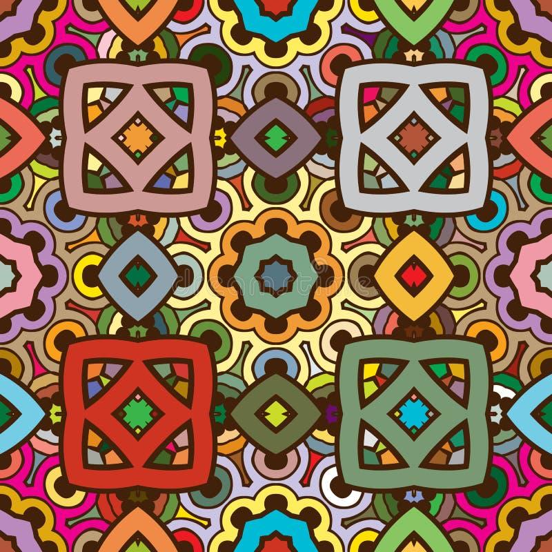 Wektorowy bezszwowy abstrakcjonistyczny kalejdoskopu wzór w naturze barwi royalty ilustracja