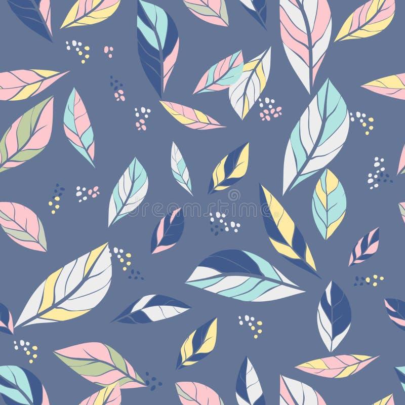 Wektorowy bezszwowy abstrakta wzór z liśćmi ilustracja z doodles i liśćmi Modny projekt dla tapety, tkanina ilustracja wektor