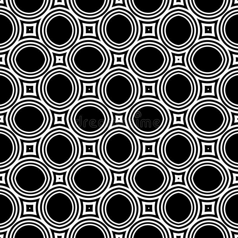 Wektorowy bezszwowy abstrakta wzór czarny i biały tło abstrakcjonistyczna tapeta ilustracji