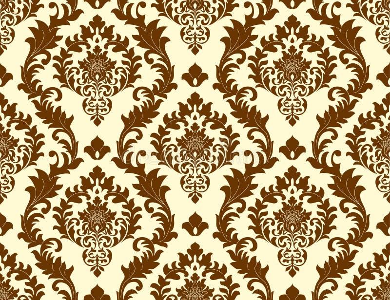 Wektorowy bezszwowy adamaszka wzór jako tło Staromodny luksusowy klasyczny baroku znaczek tworzyć tapetę, tkaniny royalty ilustracja