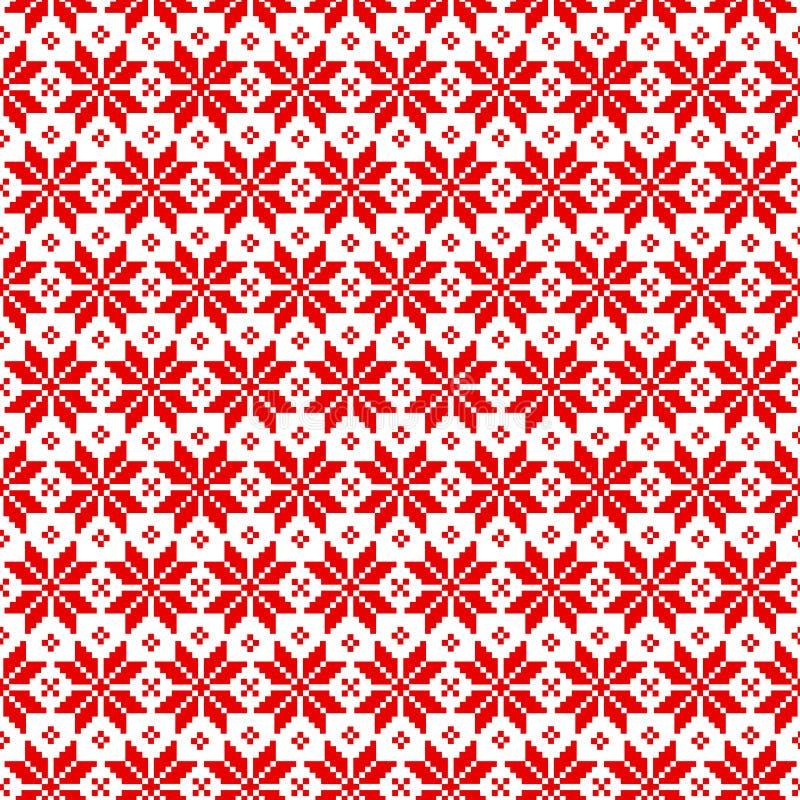 Wektorowy bezszwowy boże narodzenie wzór dla puloweru z czerwonymi elementami na białym tle ilustracji
