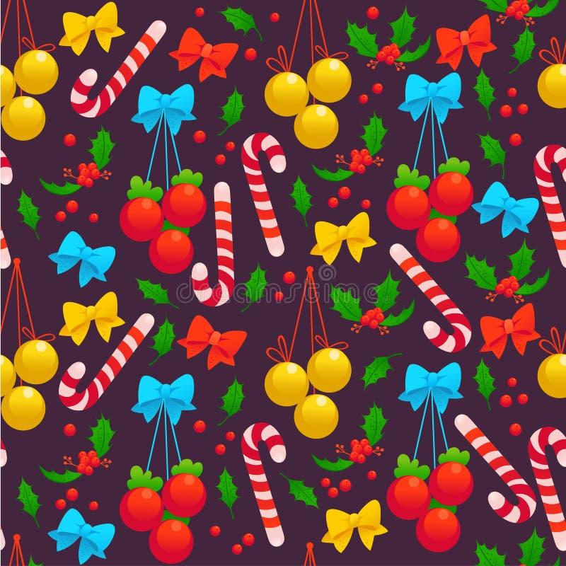 Wektorowy bezszwowy boże narodzenie wzór z dekoracj piłkami, uświęcona jagoda, łęk, lizak na ciemnym tle ilustracji