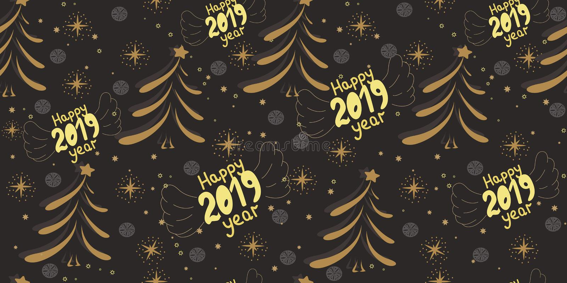 Wektorowy bezszwowy boże narodzenie wzór z wpisowy 2019 i cristmas drzewni Nowi 2019 rok Patern z gwiazdami, płatki śniegu, c royalty ilustracja