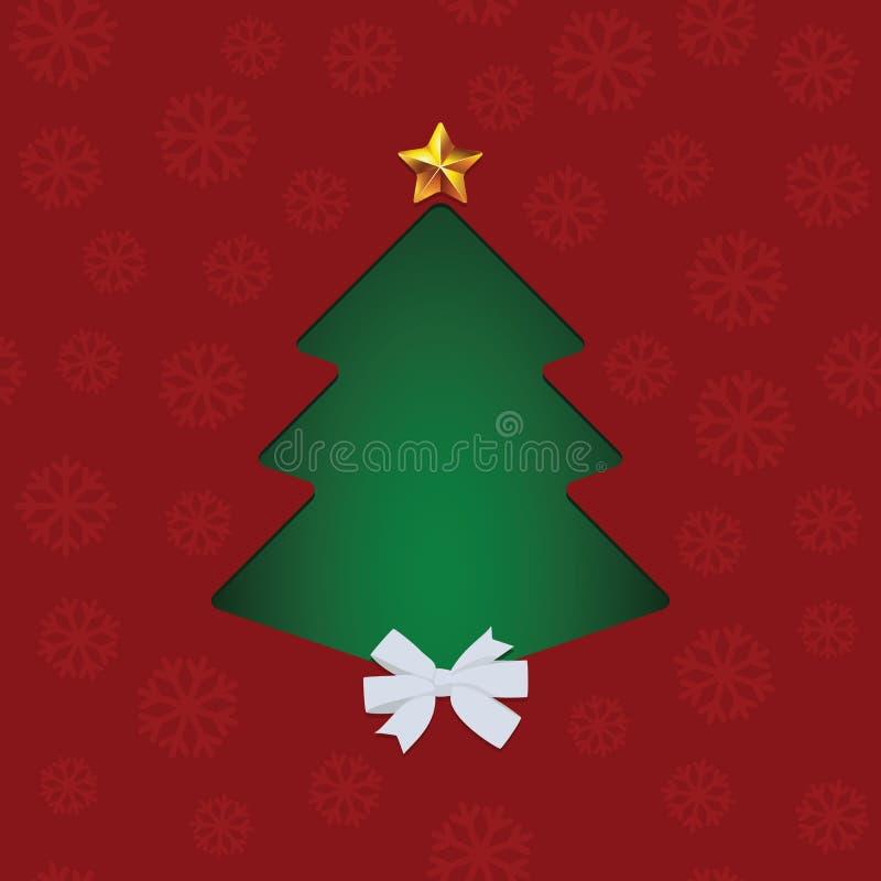 Wektorowy bezszwowy Bożenarodzeniowy czerwień wzór z płatkami śniegu, zielony abstrakt przycinająca sosna, biały łęk i złoto, gra ilustracja wektor