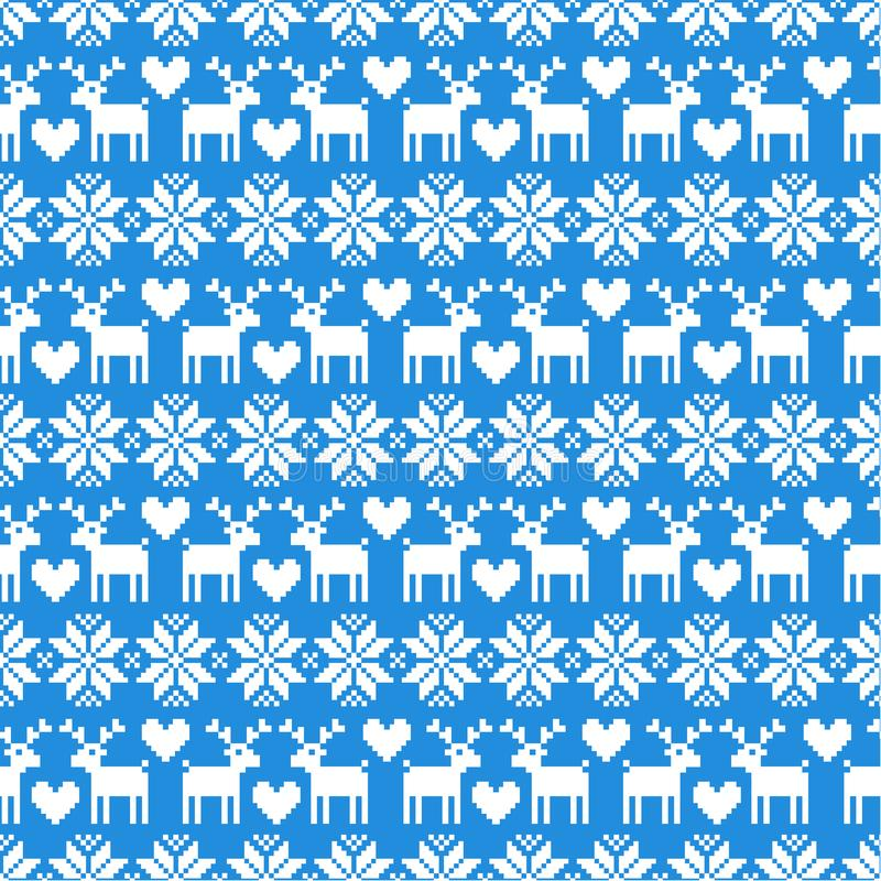 Wektorowy bezszwowy Bożenarodzeniowy puloweru wzór z deers na błękitnym tle ilustracji