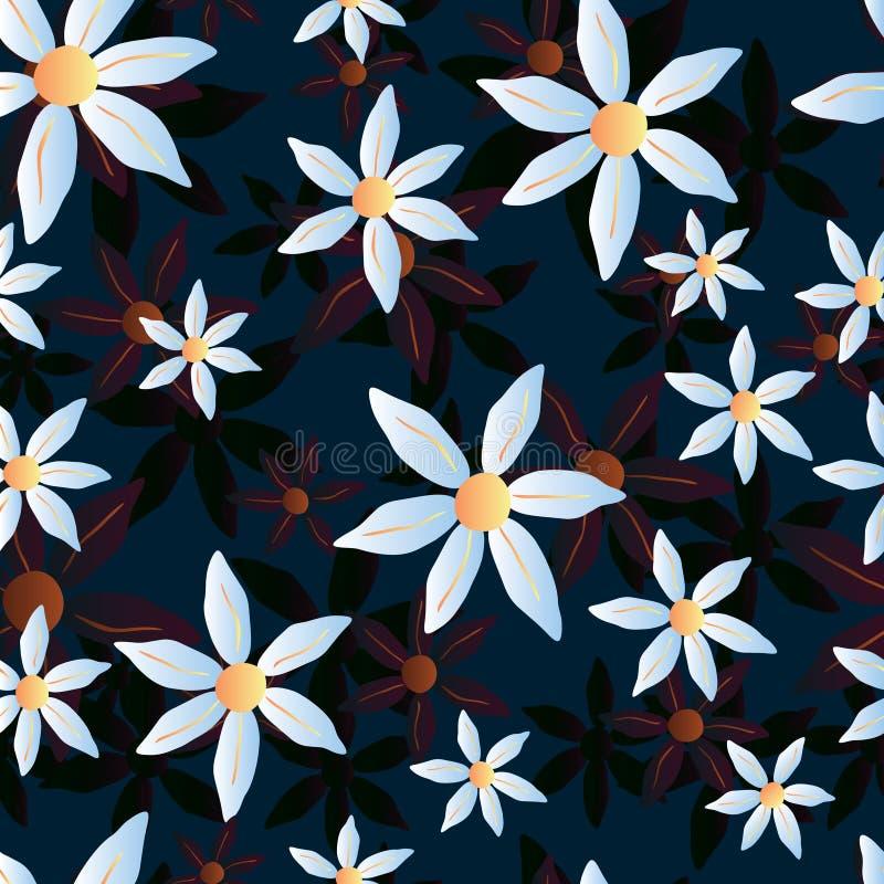 Wektorowy bezszwowy chamomile błękita wzór zdjęcie royalty free