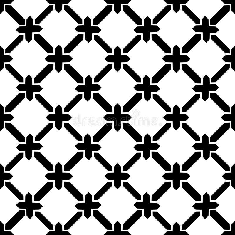 Wektorowy bezszwowy czarny & Biały retro deseniowy projekt ilustracja wektor