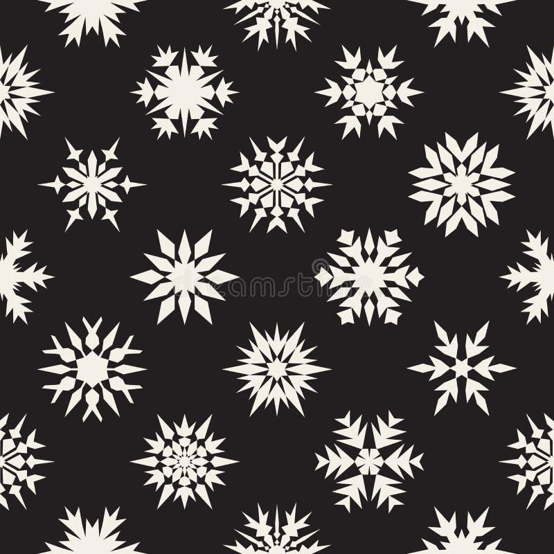 Wektorowy Bezszwowy Czarny I Biały Śnieżny płatków ornamentów wzór royalty ilustracja
