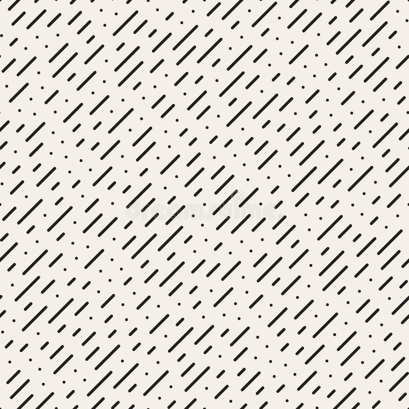 Wektorowy Bezszwowy Czarny I Biały Diagonalny Przeklęty linia deszczu wzór ilustracji