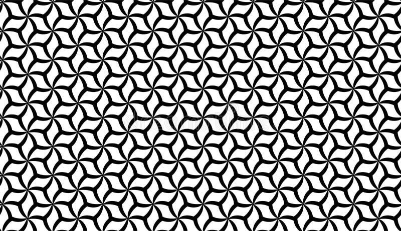 Wektorowy Bezszwowy Czarny I Biały Geometryczny kwiatu wzoru tło royalty ilustracja