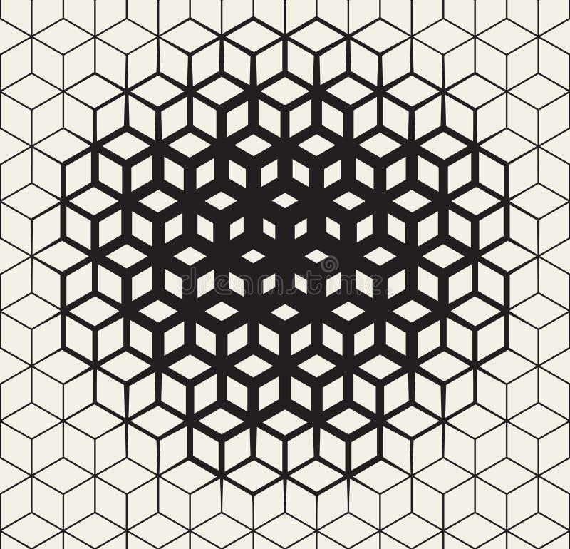 Wektorowy Bezszwowy Czarny I Biały Geometryczny sześcianu kształt Wykłada Halftone siatki wzoru fading W kierunku centrum ilustracji