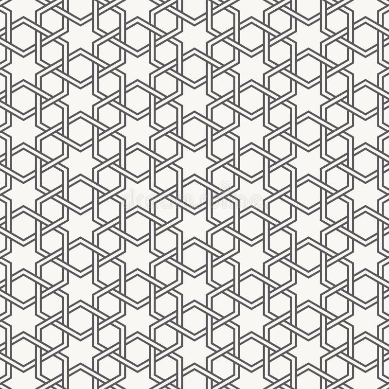 Wektorowy Bezszwowy Czarny I Biały Geometryczny sześciokąt linii wzór Abstrakcjonistyczny geometryczny tło projekt ilustracja wektor