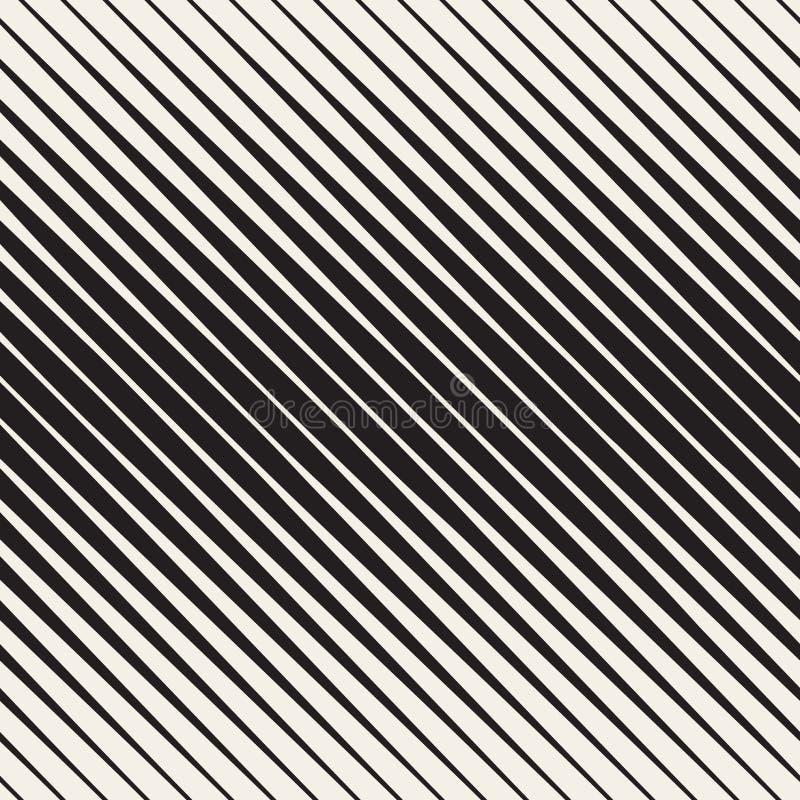 Wektorowy Bezszwowy Czarny I Biały Halftone przekątny lampasów wzór ilustracji