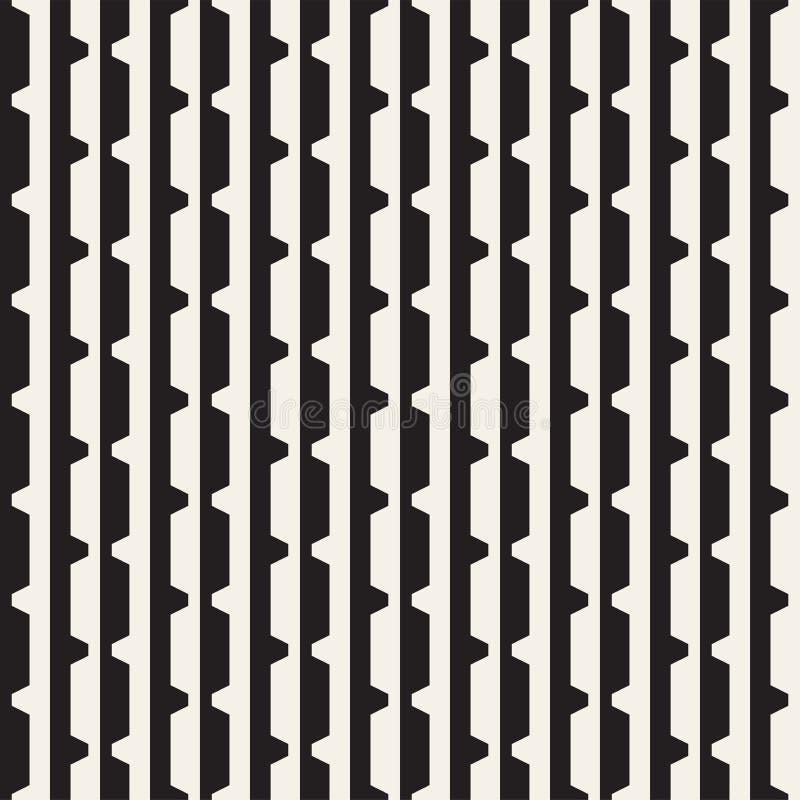 Wektorowy bezszwowy czarny i biały halftone wykłada siatka wzór Abstrakcjonistyczny geometryczny tło projekt royalty ilustracja