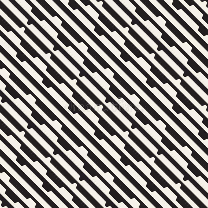 Wektorowy bezszwowy czarny i biały halftone wykłada siatka wzór Abstrakcjonistyczny geometryczny tło projekt ilustracja wektor