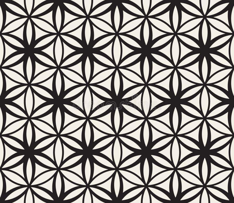 Wektorowy Bezszwowy Czarny I Biały kwiat życie geometrii okręgu Święty wzór ilustracja wektor