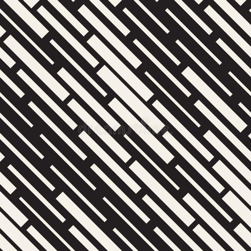 Wektorowy Bezszwowy Czarny I Biały Nieregularny junakowanie prostokątów siatki wzór Abstrakcjonistyczny geometryczny tło projekt ilustracja wektor