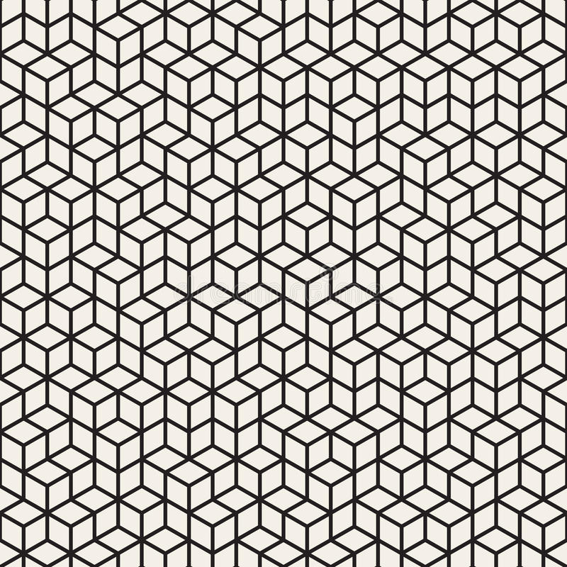 Wektorowy Bezszwowy Czarny I Biały Nieregularny Rhombus siatki wzór royalty ilustracja
