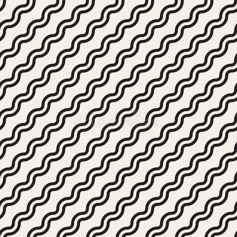 Wektorowy Bezszwowy Czarny I Biały Prosty Diagonalny Falisty linia wzór ilustracji