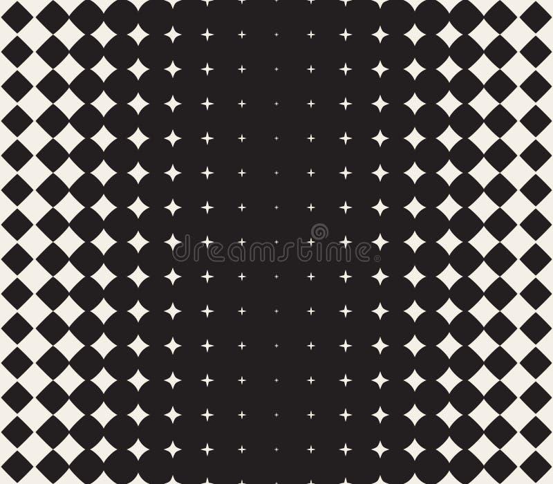 Wektorowy Bezszwowy Czarny I Biały Przekształcać się Gwiazdowego Halftone siatki gradientu wzoru Geometryczny tło ilustracji