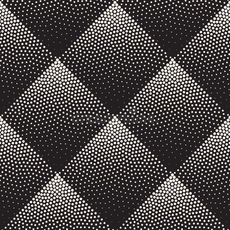 Wektorowy Bezszwowy Czarny I Biały Stippling Rhombus Halftone kropki pracy Gradientowy wzór ilustracji