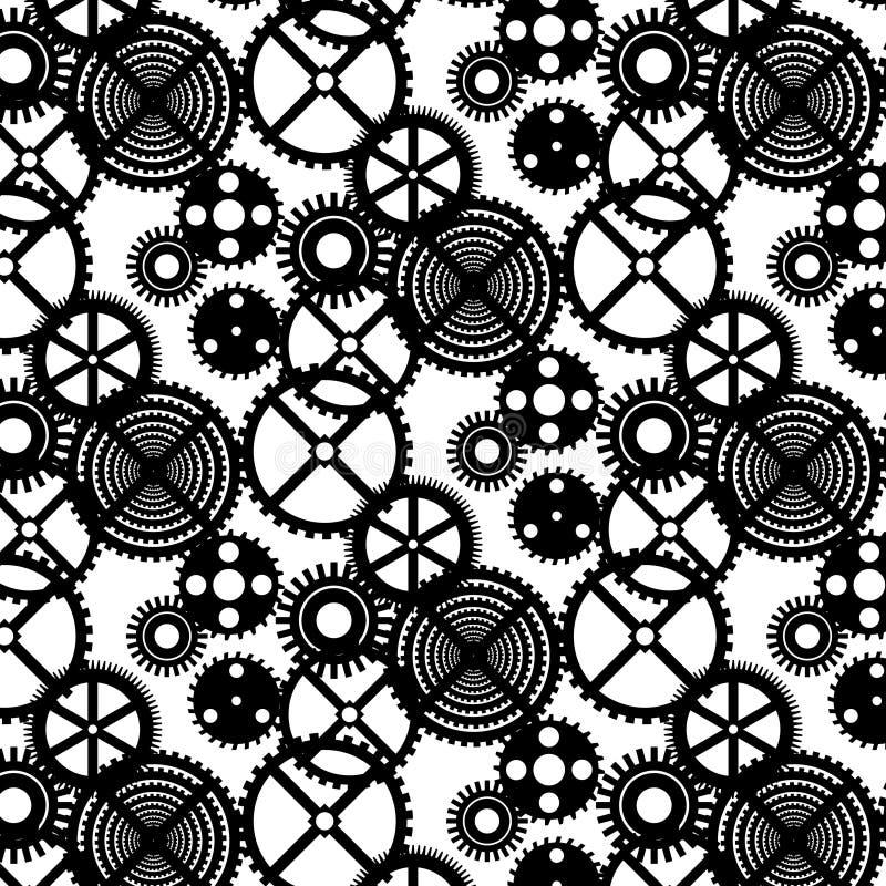 Wektorowy bezszwowy czarny i biały wzór z przekładniami ilustracji