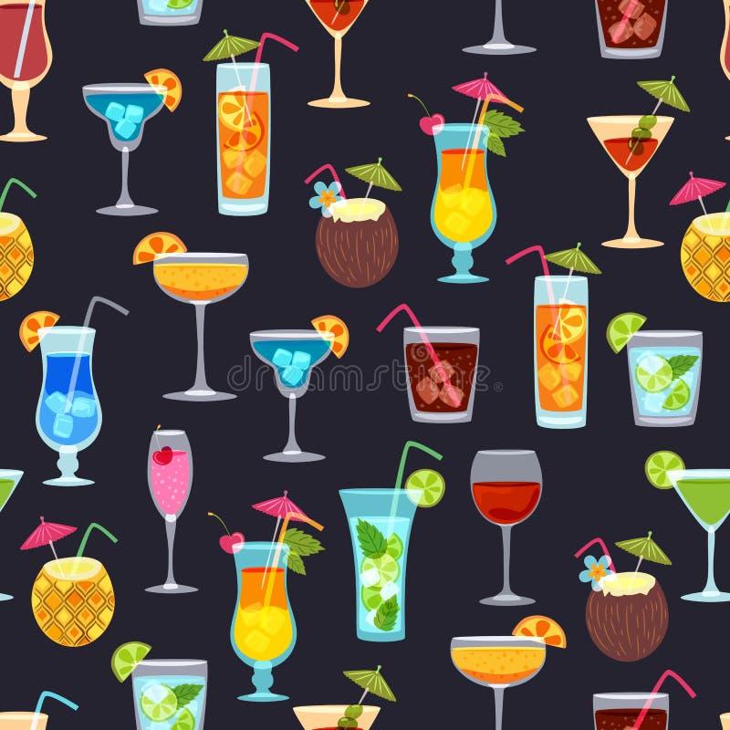 Wektorowy bezszwowy czerń wzór z tropikalnymi koktajlami, sok, wina szkło Doodle tło z napojami royalty ilustracja