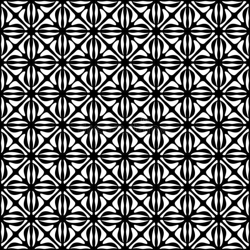 Wektorowy Bezszwowy czerni i whitel Kwiecisty Organicznie trójbok Wykłada Heksagonalnego Geometrycznego wzór ilustracji