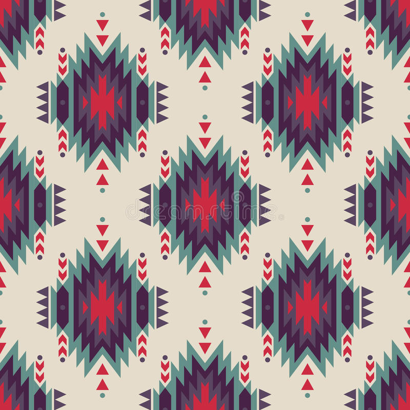 Wektorowy bezszwowy dekoracyjny etniczny wzór Amerykańsko-indiański motywy ilustracji