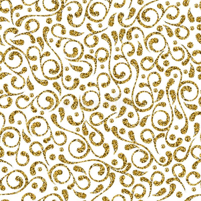 Wektorowy bezszwowy dekoracyjny zawijasa złota wzór Elegancki ornamentu projekt dla moda tekstylnego druku tło i ilustracji