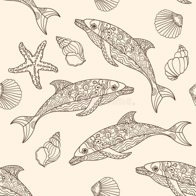 Wektorowy bezszwowy delfinu wzór z ręki rysować doodle ilustracjami ilustracji